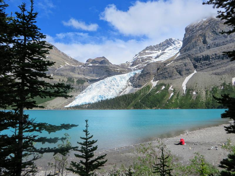 Podziwiać widok Góra lodowa jezioro i góry Robson lodowiec zdjęcia stock