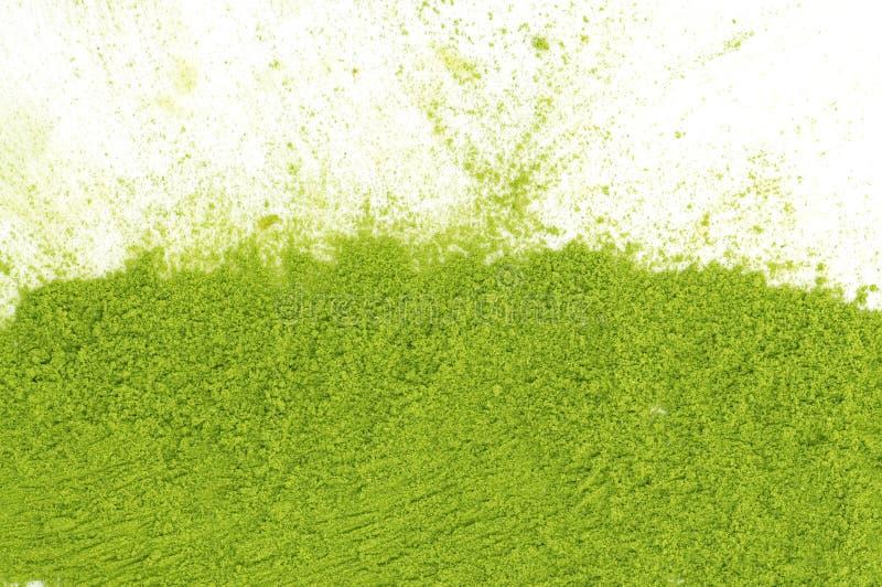 Poeder van groene theematcha stock afbeelding