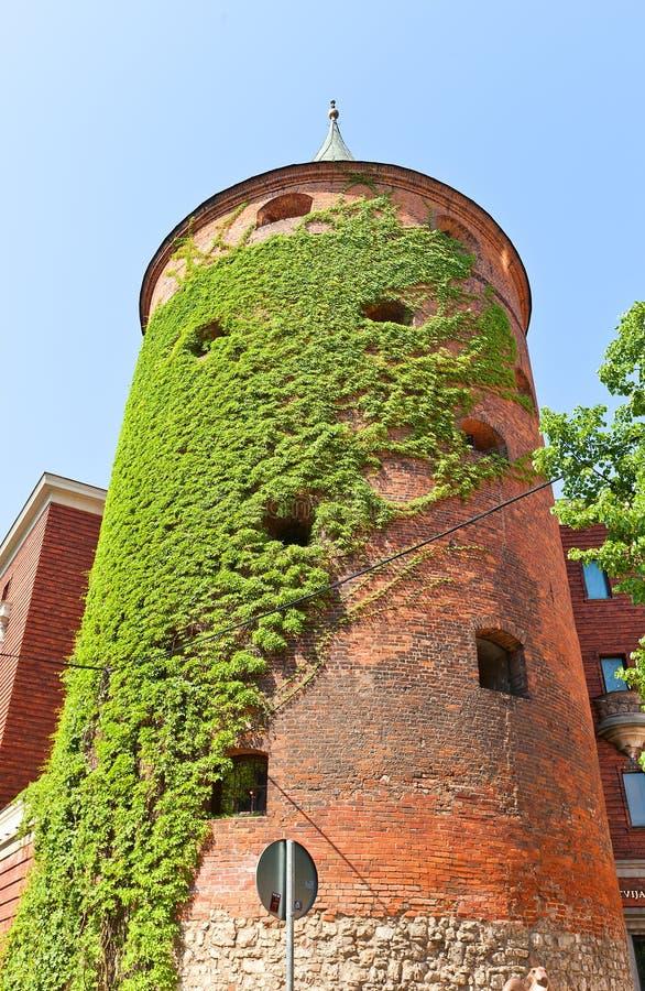 Poedertoren (XVI c ) in Riga, Letland Lange blootstelling royalty-vrije stock afbeeldingen