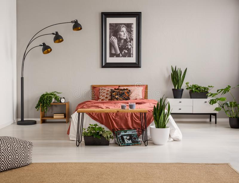 Poef op tapijt en installaties voor rood bed in grijs slaapkamerbinnenland met affiche en lamp royalty-vrije stock fotografie