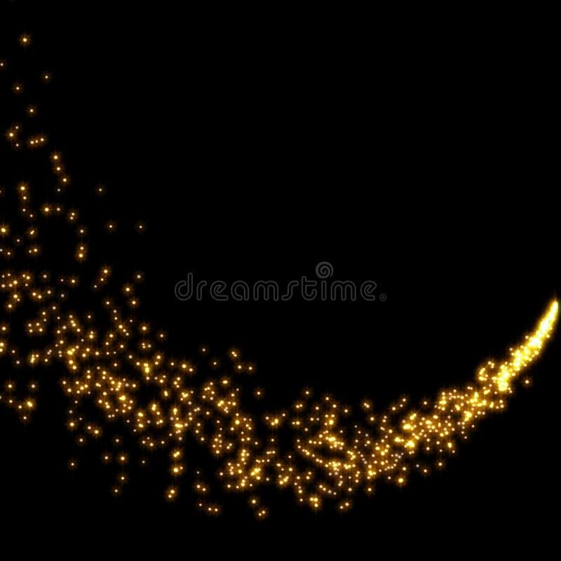 Poeira de estrela de brilho do ouro ilustração do vetor