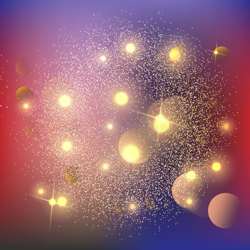 A poeira de estrela luminosa das estrelas do ouro do fundo efervescente acende na explosão no fundo preto Efeito das partículas d ilustração stock