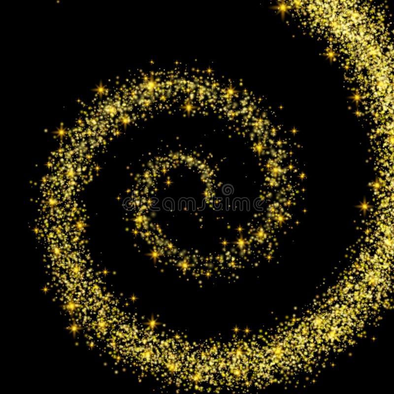 Poeira de ouro de derramamento espiral dourada em uma mágica preta do fundo ilustração do vetor