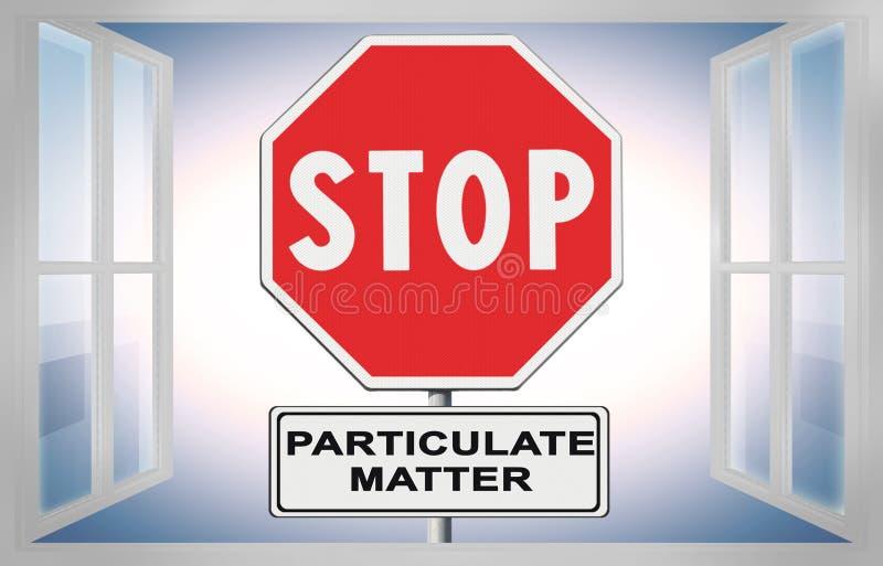 Poeira fina PM10 no ar - imagem da emissão das partículas da PARADA do conceito da rendição 3D com sinal de estrada contra uma ja ilustração royalty free