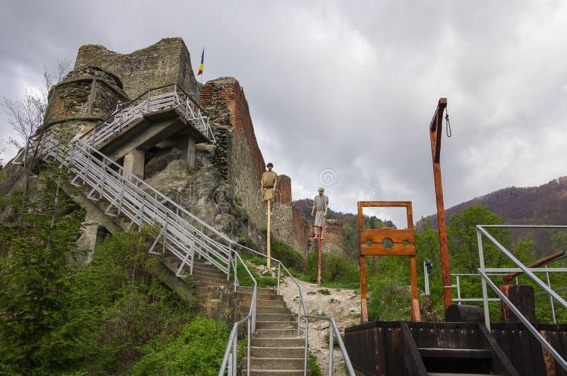 Poenari Fortress is Vlad Tepes castle, prince of medieval Wallachia, modern Romania royalty free stock photo