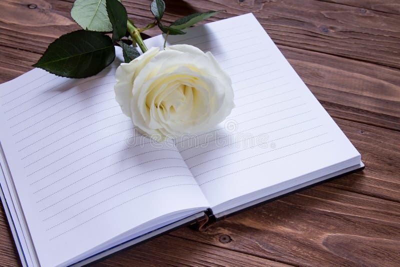 Poesia romantica Il taccuino vuoto con lusso bianco è aumentato fotografia stock