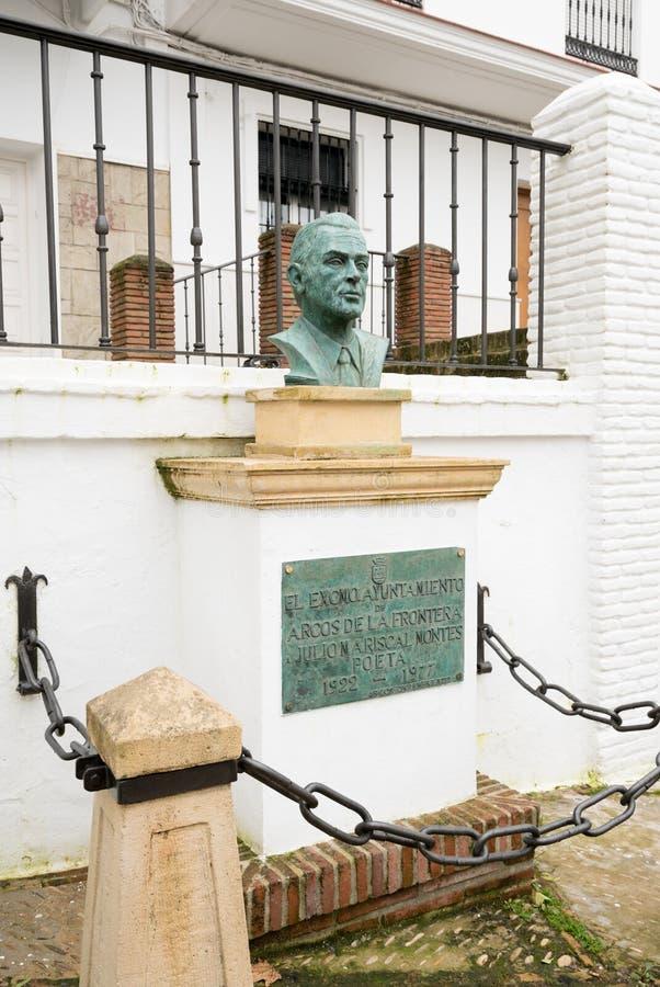 Poet bust in Arcos de la Frontera near Cadiz Spain royalty free stock photography