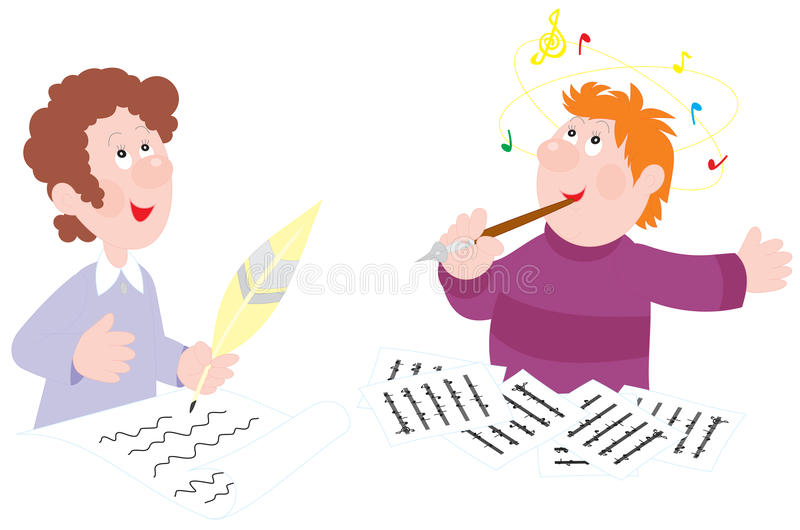 Poet and composer vector illustration