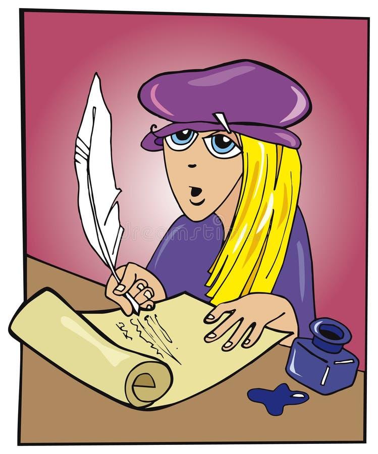 Poeta da mulher nova ilustração do vetor