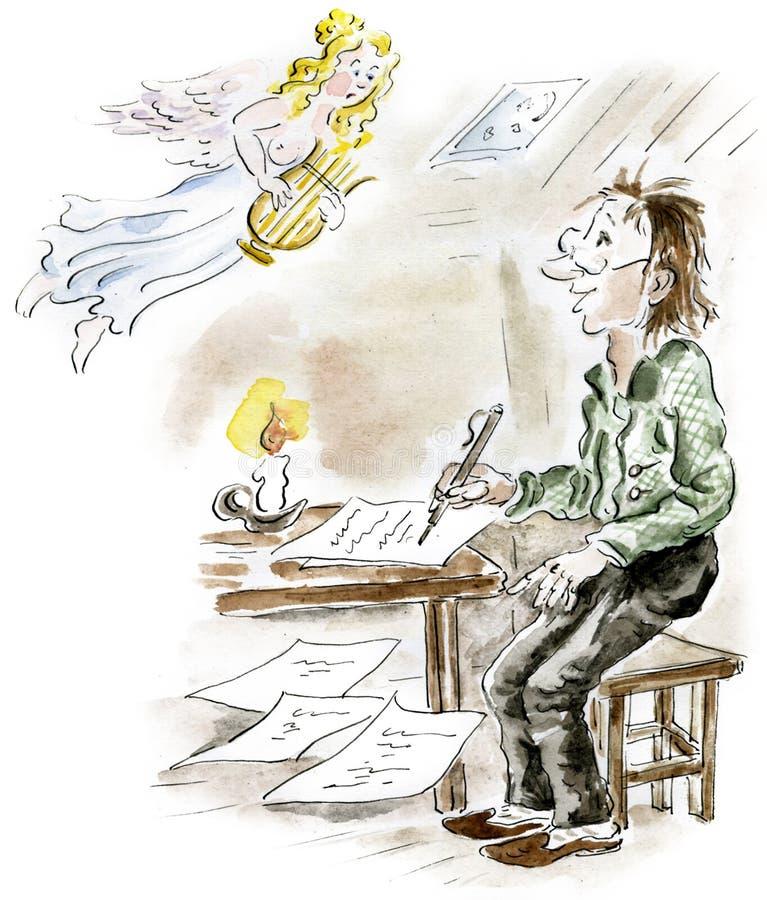 Poeta e musa ilustração royalty free