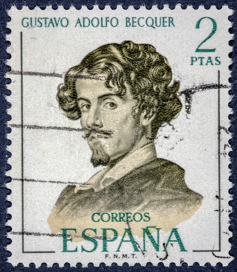 Poeta e narrador espanhóis, Gustavo Adolfo Claudio Dominguez Bastida imagens de stock royalty free