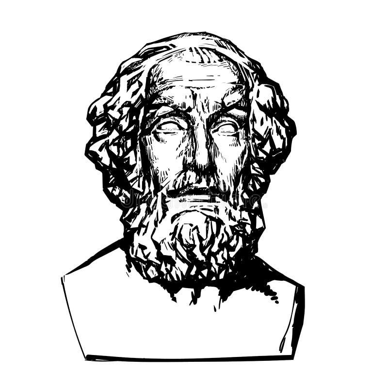 Poeta Homer do grego clássico ilustração royalty free