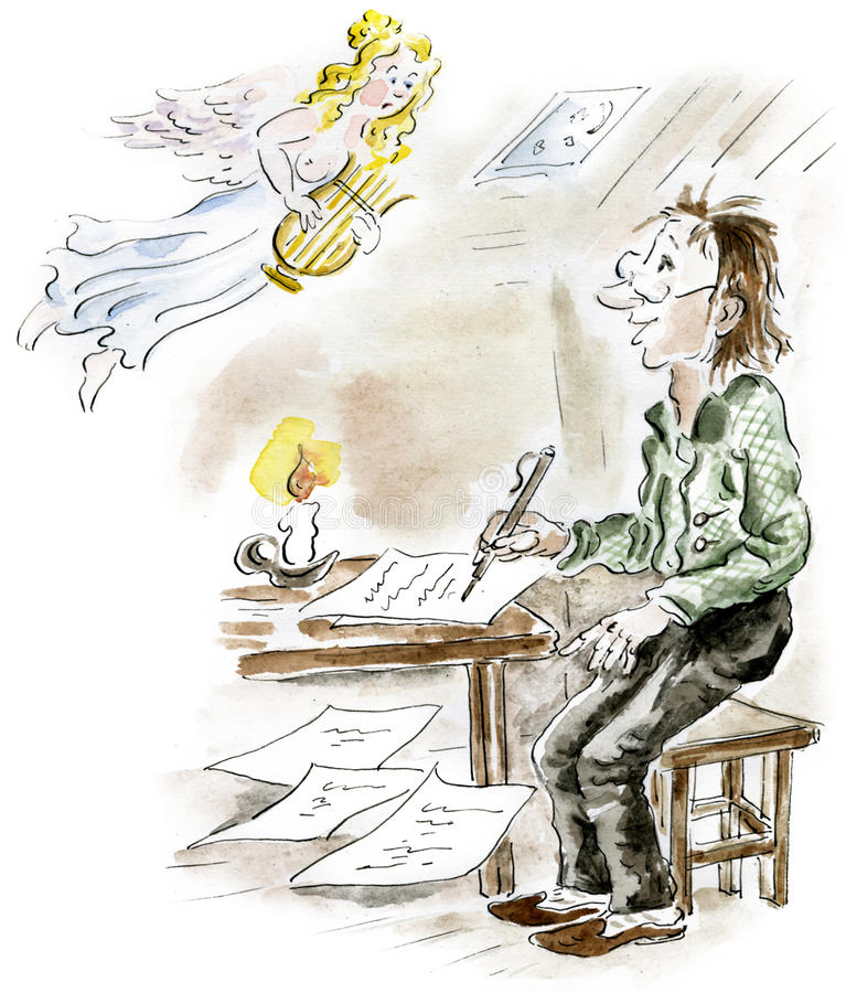 Poeta i muse royalty ilustracja