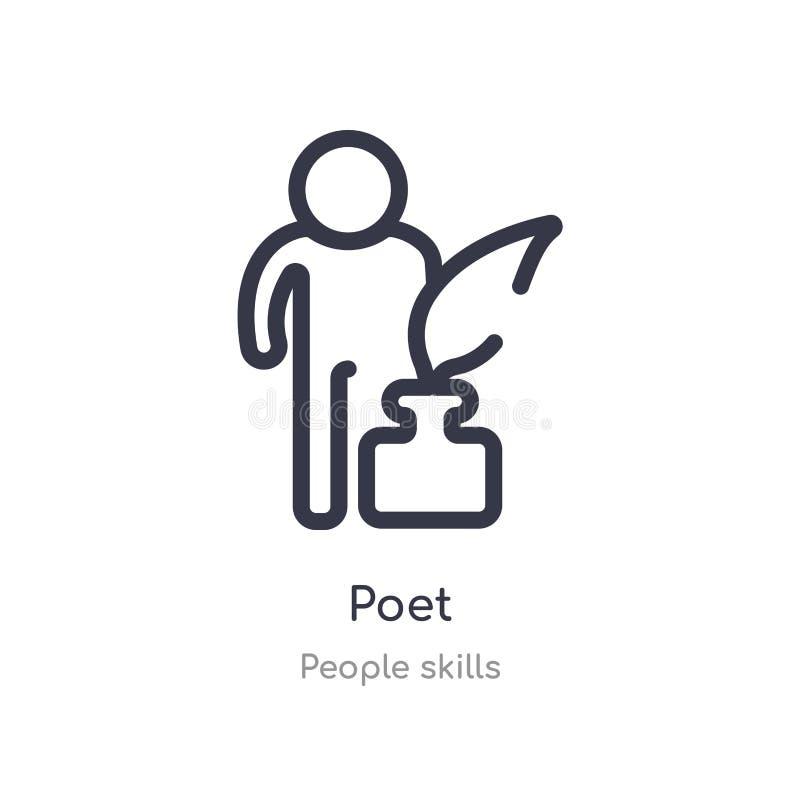 poeta konturu ikona odosobniona kreskowa wektorowa ilustracja od ludzi umiej?tno?ci inkasowych editable cienieje uderzenie poety  ilustracji