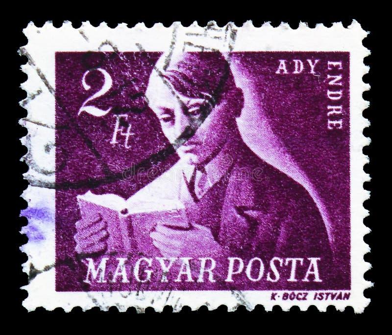 Poeta 1877-1919, serie de Endre Ady húngaro dos lutadores da liberdade, cerca de 1947 fotografia de stock