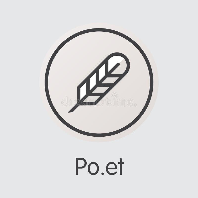 Poeta Virtual Currency Coin Icono de la web del vector del POE stock de ilustración