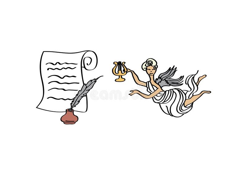 Poetry. On paper scroll, quill, inkpot and muse stock illustration