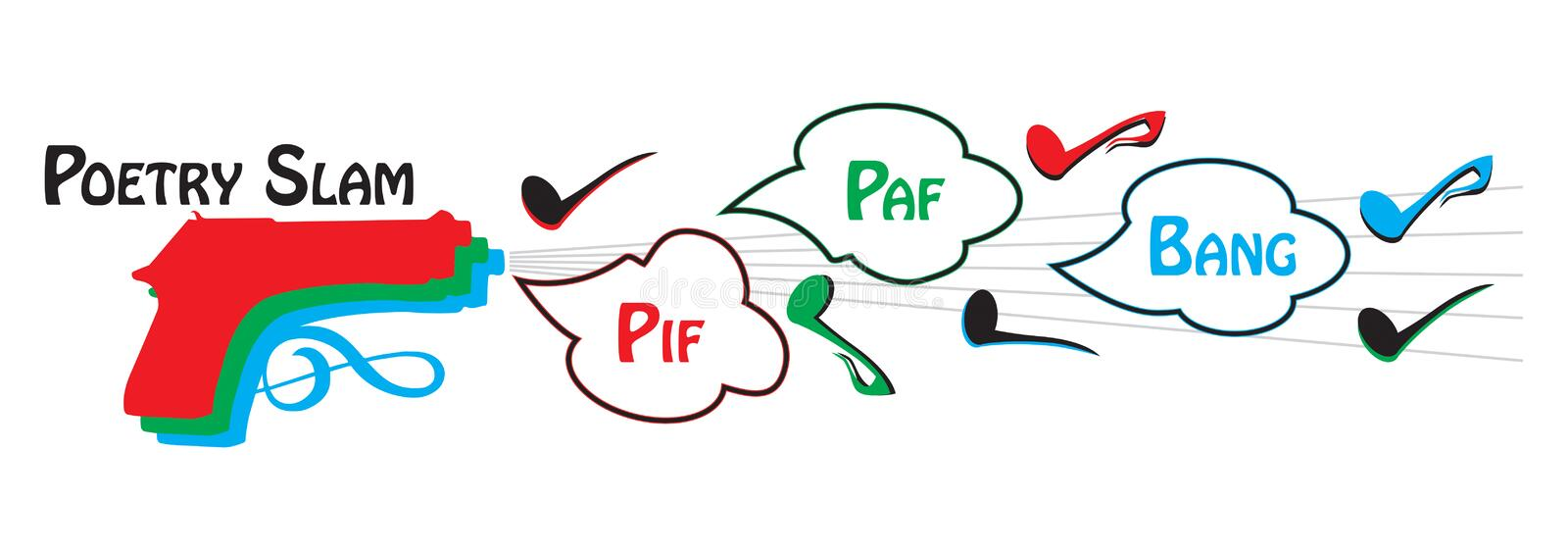 Poetry Slam - Pif Paf Bang. Poetry Slam - illustration of a competition where you can sing, recite or speak stock illustration