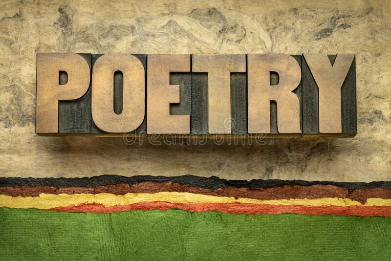 Poetry word abstract in wood type stock image