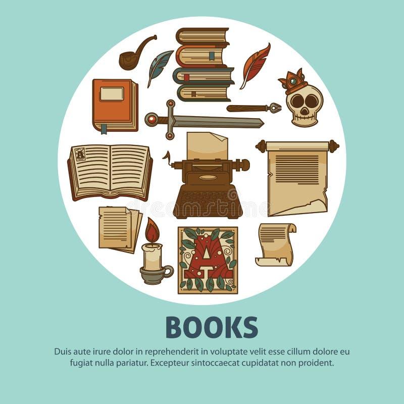 Poezj książek plakat pisarska atramentu detektywa, dutki lub materiały dymienia drymba i ilustracja wektor