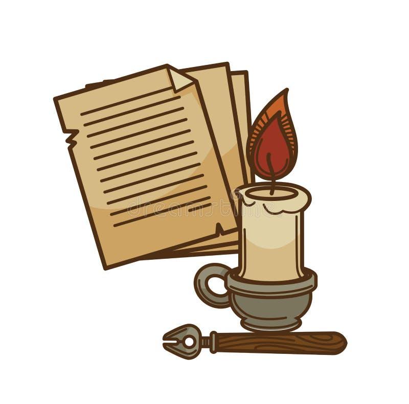 Poezja pisarza książki strona ciąć na arkusze, świeczki i atramentu pióra wektorowa ikona dla, ilustracja wektor