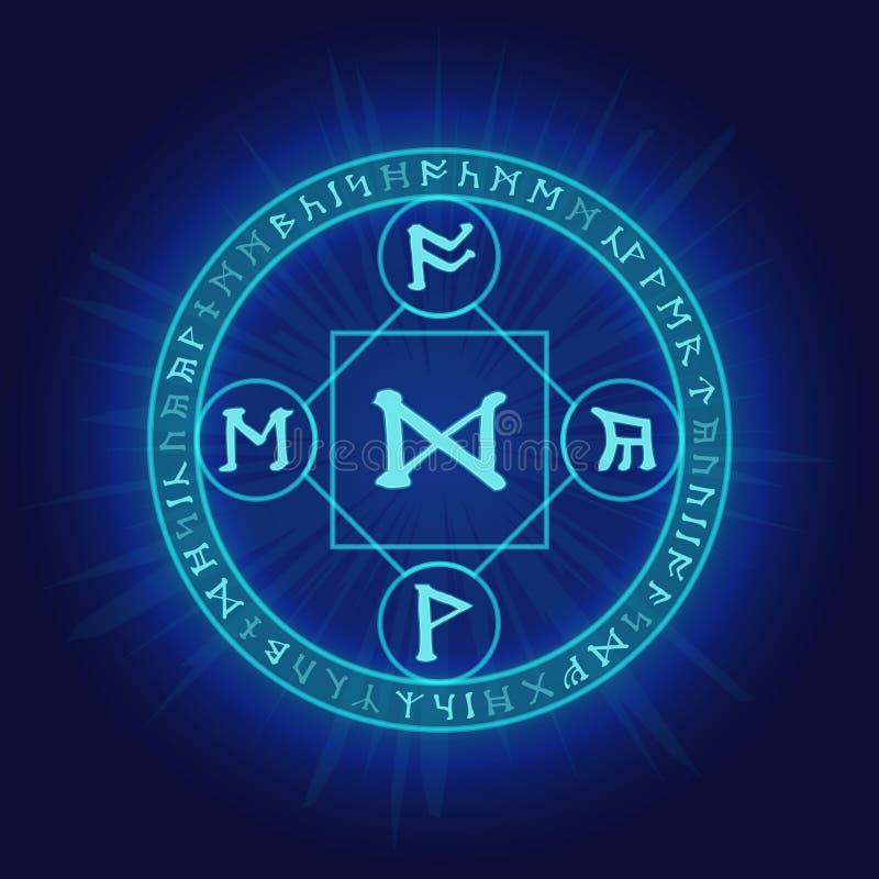Pogański rytuał dzwoni z Celtyckimi runicznymi symbolami ilustracja wektor