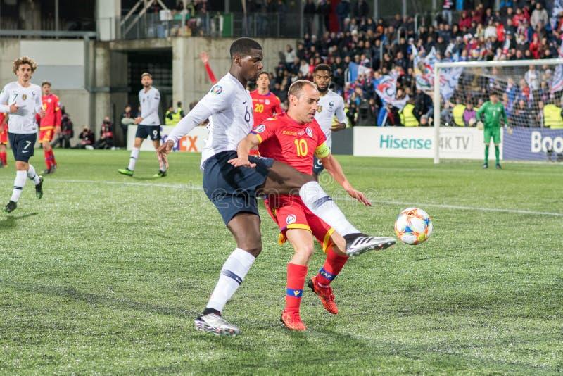Pogba in der Aktion am Europameisterschafts-Qualifikationsspielmatch zwischen Andorra gegen Frankreich, Endergebnis UND 0 - 4 FRA stockbild