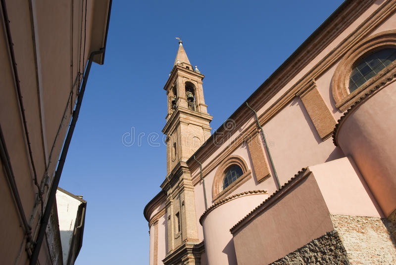 Poggioreale arruina la puerta en balcón Comacchio, Italia fotografía de archivo