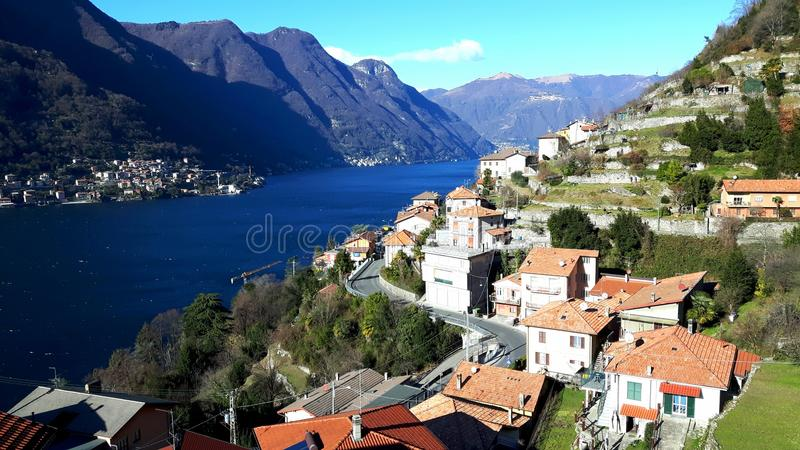 Pognana Lario, lago Como, Italia fotografia stock