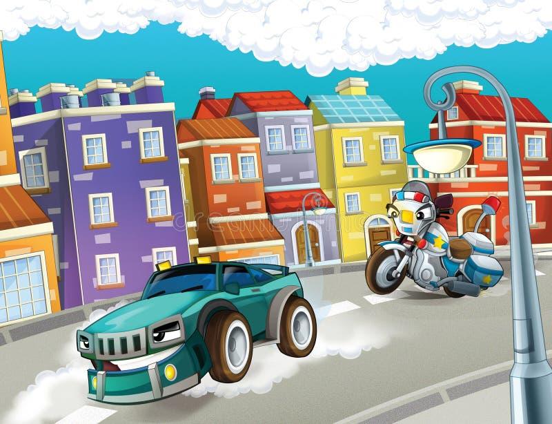 Download Pogoń, pędzący samochód ilustracji. Ilustracja złożonej z krążownik - 28968596