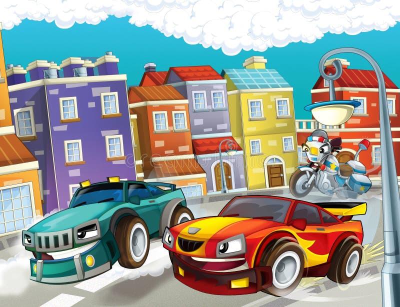Download Pogoń, pędzący samochód ilustracji. Ilustracja złożonej z arte - 28968805