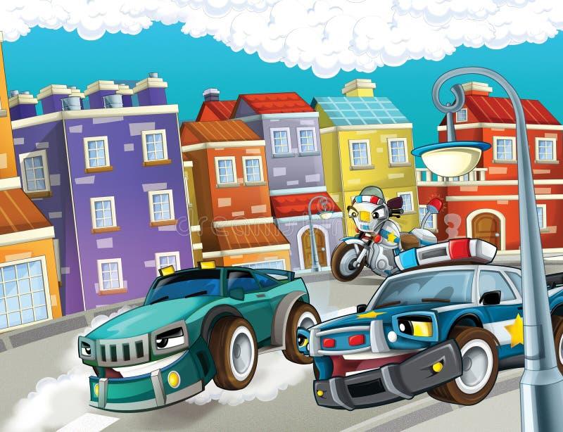Download Pogoń, Pędzący Samochód - Ilustracja Dla Dzieci Ilustracji - Ilustracja złożonej z zatrzymujący, kreskówka: 28969194