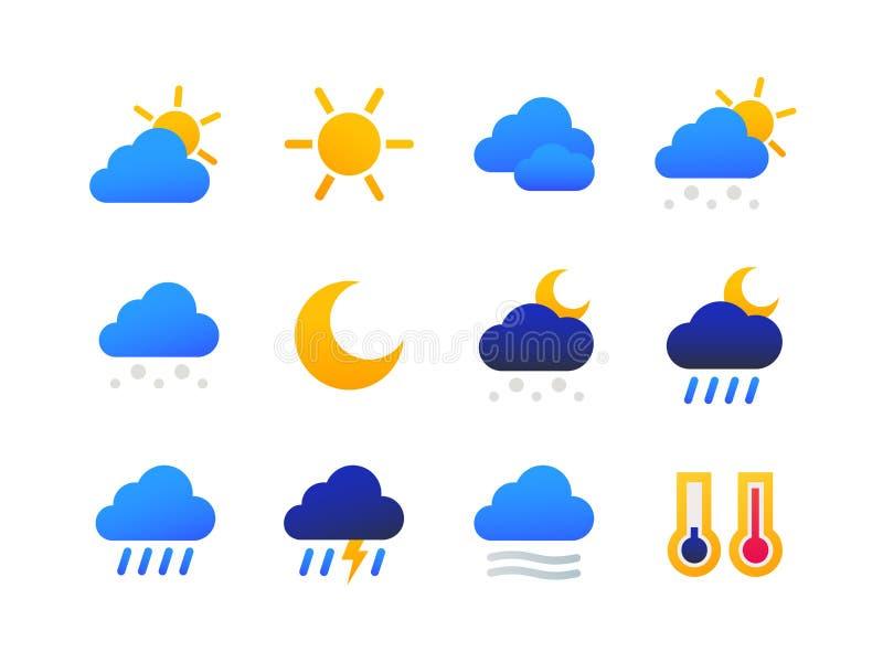 Pogoda pisać na maszynie symbole - set płaskie projekta stylu ikony ilustracja wektor