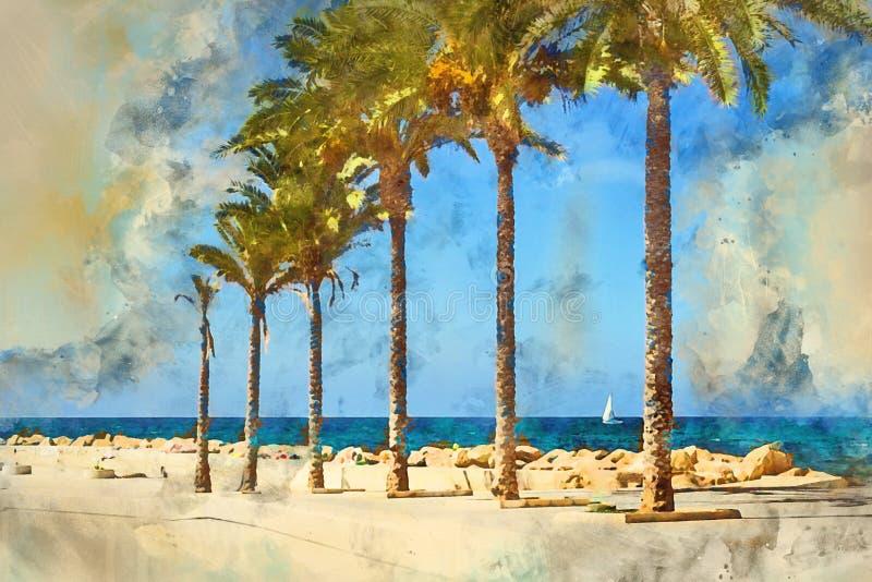 Pogodna Śródziemnomorska plaża, Torrevieja, Hiszpania ilustracja wektor