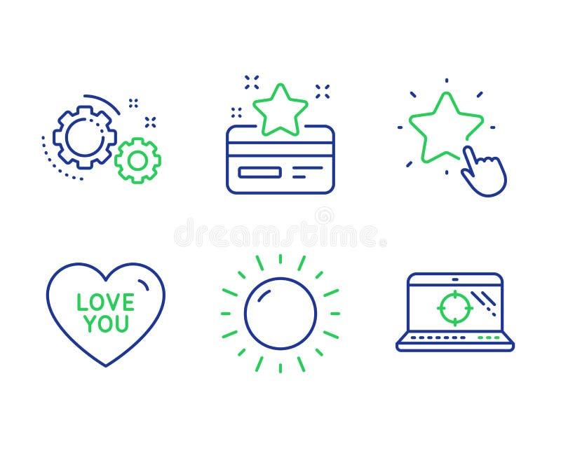 Pogodna pogoda, Kocha ciebie i Przygotowywa ikony ustawiać Zaliczający się gwiazdę, lojalności karta i Seo laptop podpisujemy wek ilustracja wektor