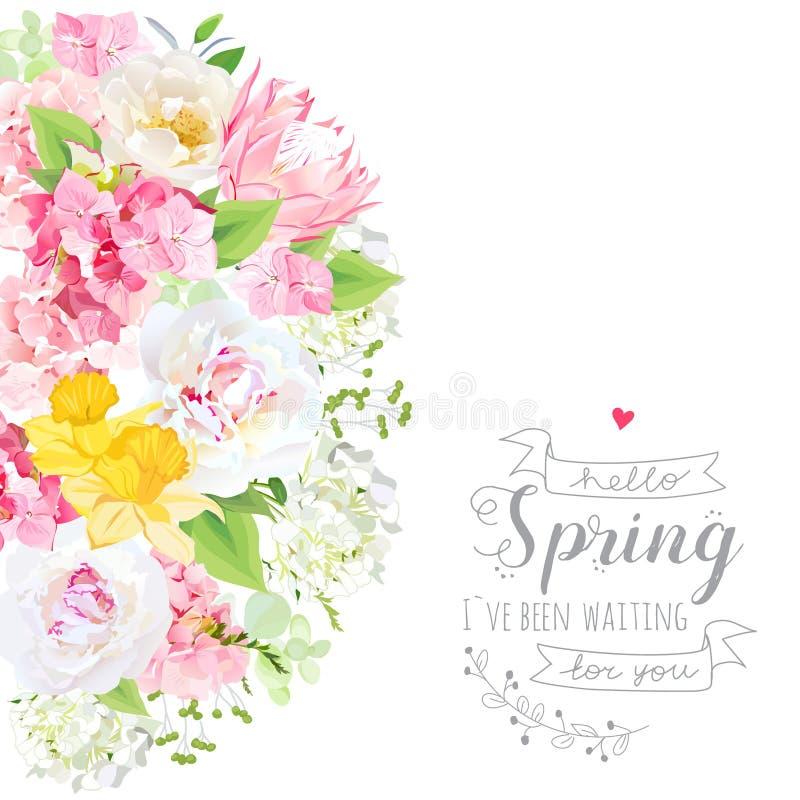 Pogodna wektorowa projekt karta z peonią, daffodils, protea, hydrang ilustracji