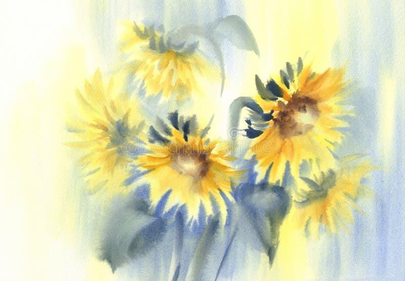 Pogodni słoneczniki na żółtej i błękitnej tło akwareli royalty ilustracja