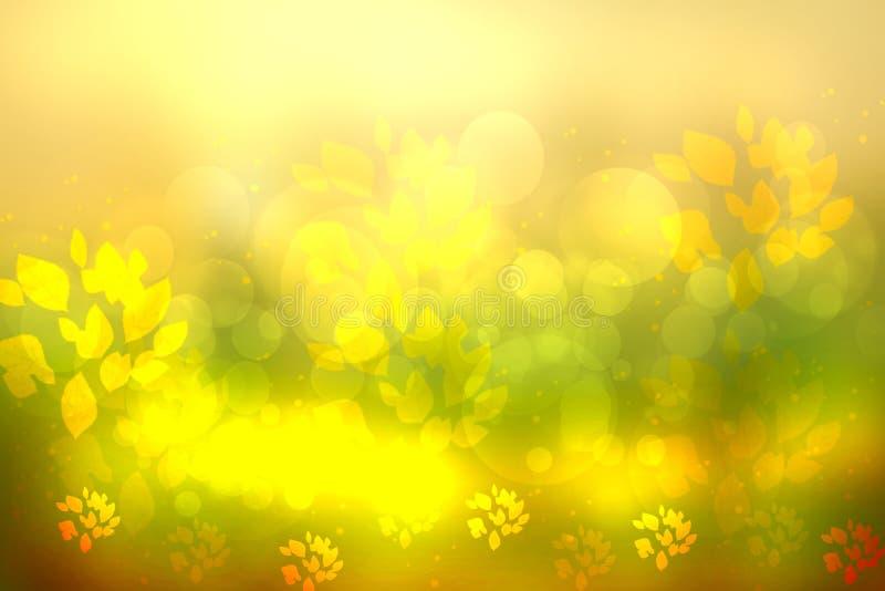 Pogodny abstrakcjonistyczny jaskrawy żółtej zieleni bokeh jesieni tła textu obraz royalty free