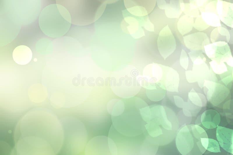 Pogodny abstrakcjonistyczny jaskrawy - zielona bokeh jesieni tła tekstura z liśćmi Przestrzeń dla twój projekta royalty ilustracja