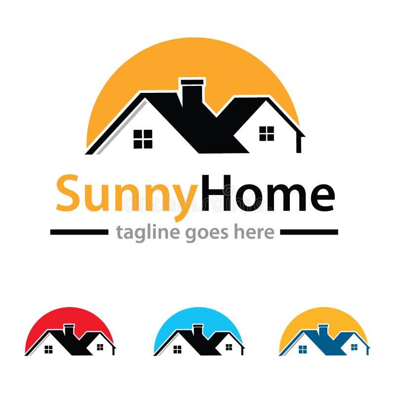 Pogodny Domowy loga szablonu projekta wektor ilustracji