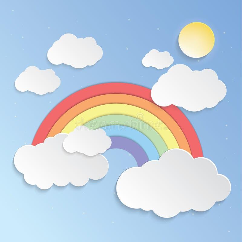 Pogodny niebo i tęcze tapetujemy sztuka wektor royalty ilustracja