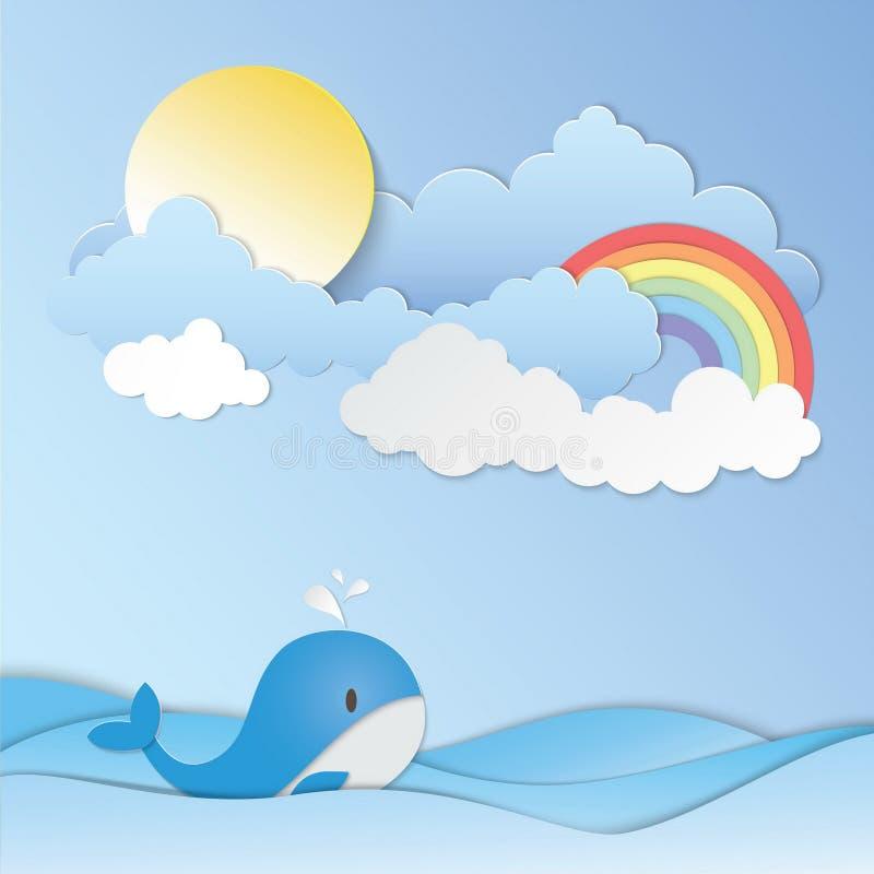 Pogodny niebo, t?cze i b??kitny wieloryb w oceanie, tapetujemy sztuka wektor ilustracji