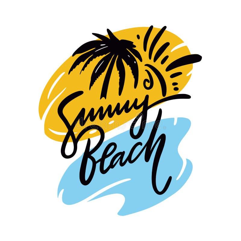 Pogodny Plażowy zwrot Ręka rysujący wektorowy literowanie Lato wycena pojedynczy białe tło ilustracja wektor