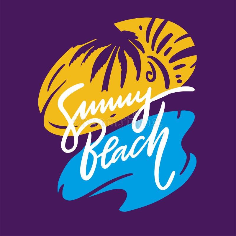 Pogodny Plażowy zwrot Ręka rysujący wektorowy literowanie Lato wycena Odizolowywający na Fiołkowym tle ilustracji