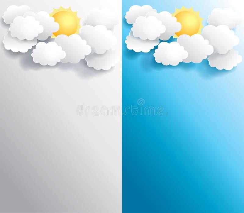 Pogodny pogodowy sztandar w różnorodnym tle royalty ilustracja