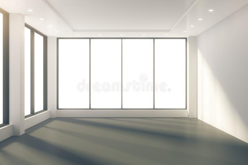 Pogodny pusty pokój z okno w podłoga i bielu ścianach ilustracja wektor