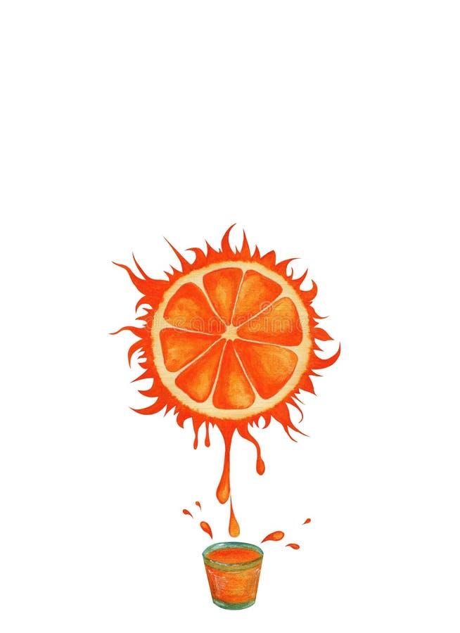 Pogodny sok pomarańczowy z pluśnięciami ilustracja wektor