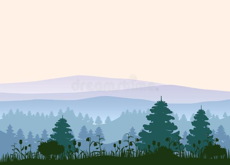pogodny tło las Wektorowa ilustracja drewna w lesie w światła słonecznego tle odosobniony ilustracja wektor