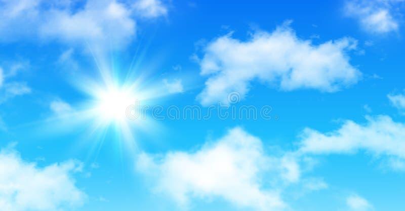 Pogodny tło, niebieskie niebo z chmurami i słońce, ilustracja wektor