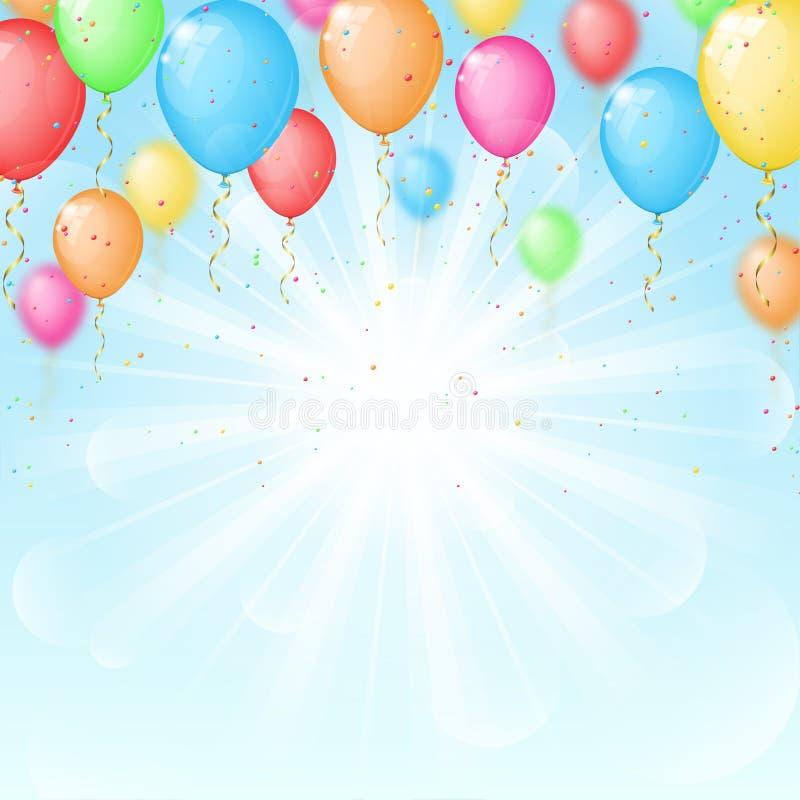 Pogodny tło z kolorów balonami ilustracja wektor